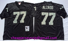 Stitiched Oakland Raiders Tim Brown Lyle Alzado Howie Long Ronnie Lott Art Shell Otis Sistrunk Lester Hayes for mens. Throwback(China (Mainland))