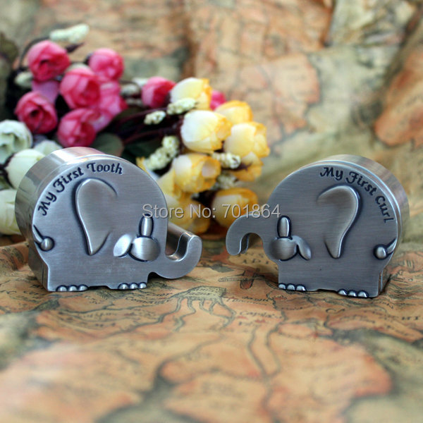 NEW ARRIVAL - Newborn Baby Keepsake / Family Gift Elephant Shaped First Tooth and First Curl Boxes Metal Artcraft Trinket Box(China (Mainland))