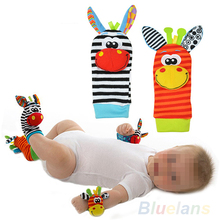 Bluelans 2pcs Lovely Infant Baby Kids Foot Socks Rattles finders Glove Toys Developmental(China (Mainland))