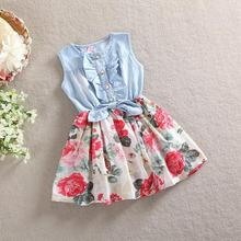 Unkids baby girl denim dress 2015 children sleeveless christmas girls dresses summer style kids princess flower clothes TZ-A027