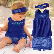 Fashion Baby Clothing Summer Suit Newborn Baby Girl Set (Sleeve Romper+Headband+Pants) Infant One Pieces Roupas De Bebe Menina(China (Mainland))