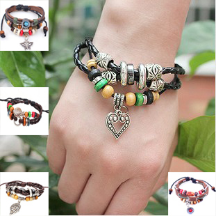 Multi-layer leather rope woven wood beads restoring ancient ways alloy parts bracelet fashion jewelry wholesale free shipping<br><br>Aliexpress