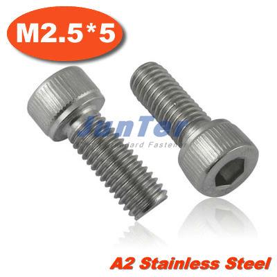 100pcs/lot DIN912 M2.5*5mm Stainless Steel A2 Hex Socket Head Cap Screw<br><br>Aliexpress