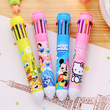 Color Send Randomly!!! 1 pc New Pen 10 Colors Fun Ink Retractable Ballpoint Pen caneta Writing Stationery Children Gift
