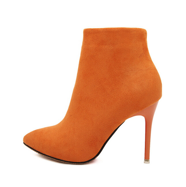 Sexy Women Boots Solid Flock Suede Zip High heels Boots Lady Stiletto Pointed toe Ankle Boots Martin Boot Orange Blue Rose Black(China (Mainland))