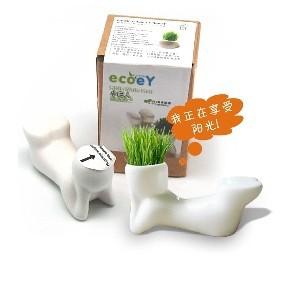 DIY Bonsai Magic Grass Planting Plant Hair Man Ceramic Figures(China (Mainland))