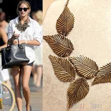 Trendy Women Bohemia Leaves Leaf Multilayer Pendant Chain Bib Choker Necklace Jewelry 1FZR