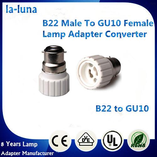 100pcs/lot B22 to GU10 adapter GU10~B22 converter Led CFL light bulb holder adapter flame retardant PBT(China (Mainland))