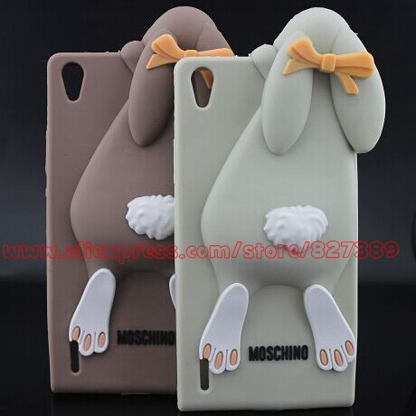 Cute Silicone Rabbit Mobile Phone Bags Case Cover For Huawei Ascend P7(China (Mainland))