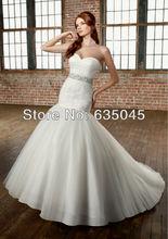 Vestido De Noiva 2015 New Custom Made Romantic Organza Crystal Beading Mermaid Wedding Dress Bride Dresses