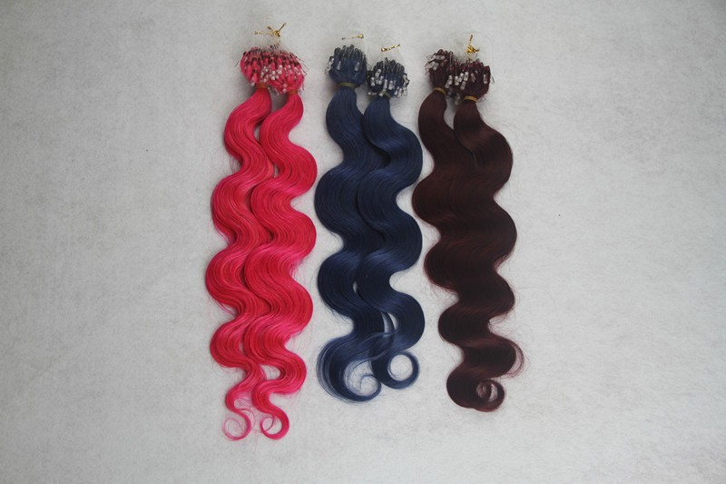 "Three Kinds of color 100% Huamn Body Wave Hair Extension 10-30"" Loop Micro Ring Hair Extensions 7a Virgin Brazilian Hair(China (Mainland))"