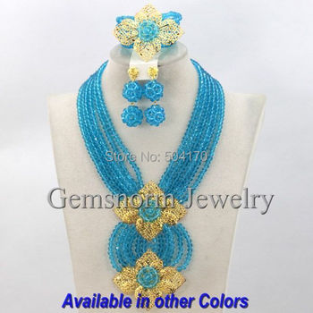Fashion Turquoise Blue African Jewelry Set Wedding Beads Jewelry Set For Brides Crystal Jewelry Set Free Shipping GS214