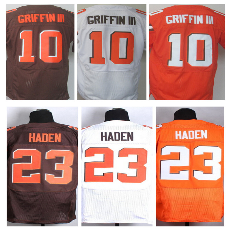 Cheap Men's Elite 10 Griffin III jerseys orange Team Color Stitched White Jersey Haden Jerseys Embroidery Logo,Best Quality(China (Mainland))