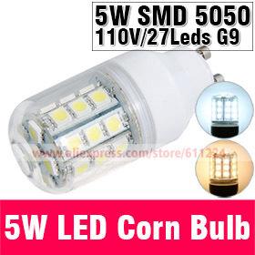 5W G10 220V 5050 Warm White/White LED Corn Bulb 27 pcs Led Chip Bulb 360 degree bulbs Spot Light E27 Led Corn Bulb Lighting