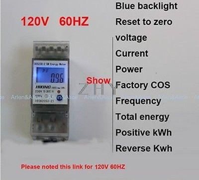 5(65)A 120V 60HZ multi-function meter SIngle phase Din rail KWH Watt hour LCD<br><br>Aliexpress