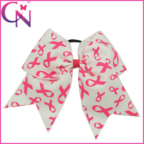 """Hand Made 8"""" White Grosgrain Ribbon Bows Boutique Breast Cancer Sign Print Cheer Bow With Elastic Hair Bands For Kids Accessory(China (Mainland))"""