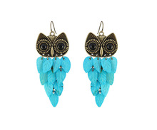 Buy New Fashion Jewerly Antique Zinc Alloy Blue Shell Vintage Owl Dangle Earrings For Women Free Shipping for $2.99 in AliExpress store
