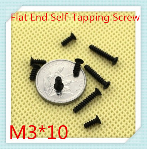 1000PCS/LOT M3*10 Black  Flat Head  Cross Recessed Self-tapping  Screw With Flat Tail/Electronic flat tail self-tapping screws<br><br>Aliexpress