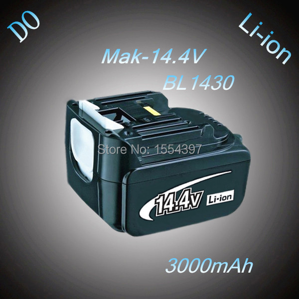 New 14.4V 3000mAh Lithium Ion Replacement Rechargeable Power Tool Battery for Makita BL1430 194065-3 194066-1 BL1415 BL1440(China (Mainland))