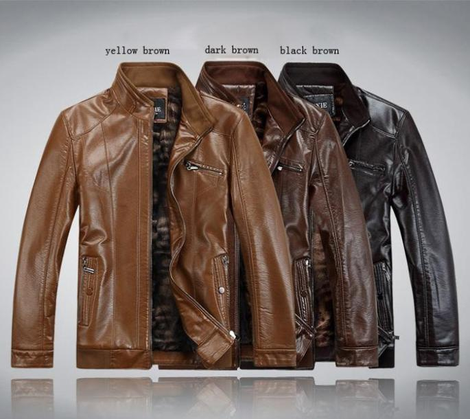 Mens Mandarin Collar Jacket Slim Artificial Leather Mens Jacket Drop Shipping MWP015(China (Mainland))