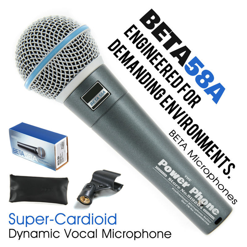 Free Shipping! Professional Super-Cardioid Beta58A Wired Stage Handheld Karaoke Dynamic Microphone Microfone Mike Beta 58A 58 A(China (Mainland))