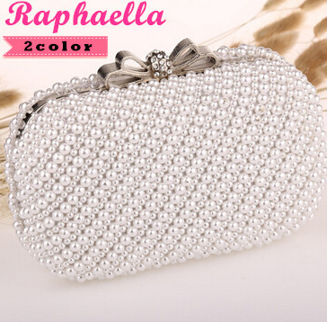 Full Side Handmade Beaded Bridal Bag Women's Beaded Bag Imitation Pearls Diamond Bowknot Beads Clutch Purse For Party 2 Color(China (Mainland))