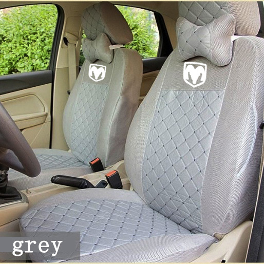 grey/red/black silk breathable Embroidery logo Car Seat Cover For Dodge Ram charger durango journey dart with pillows seat cover(China (Mainland))