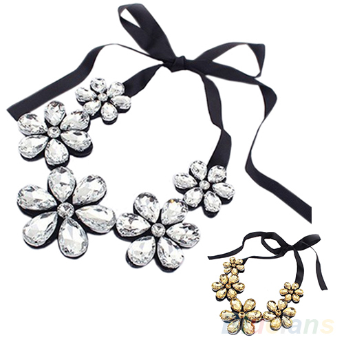 New Fashion exquisite Flower Ribbon Gem Petals charming Bib collar Necklace jewelry items 1FAY(China (Mainland))