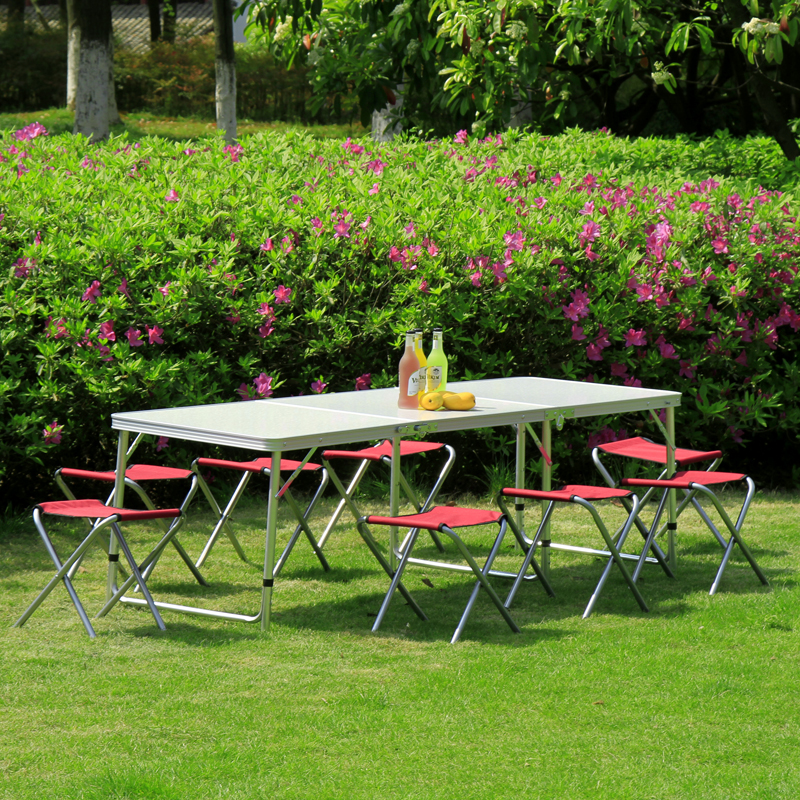 Aluminum folding table outdoor tables and chairs portable camping barbecue picnic ad suit(China (Mainland))