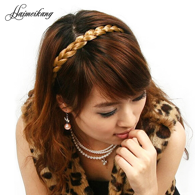 2016 Head Bands for Women Free Shipping Fashion Brown Cute Lady Girl Wig Plait Braided Hair Band Plaited Hair Accessories(China (Mainland))