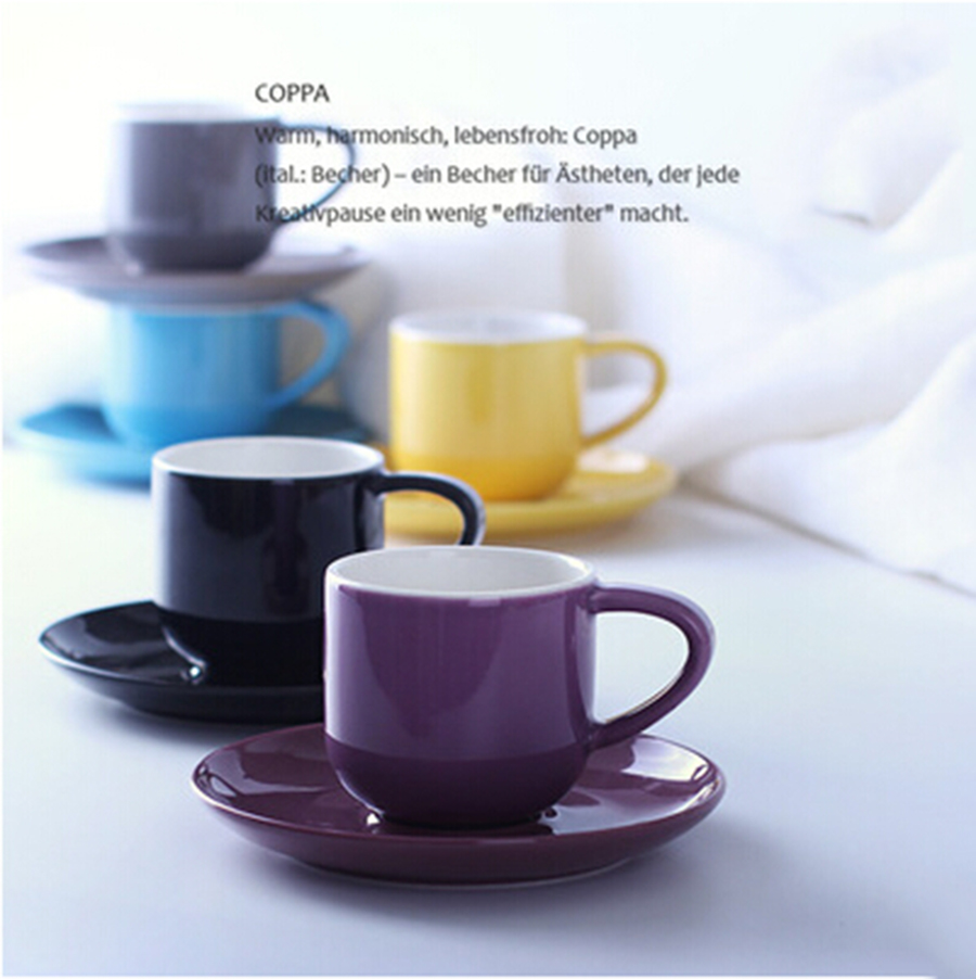 New and nice colorful mugs quality samll coffee cups 80ML fresh one piece espresso cup with