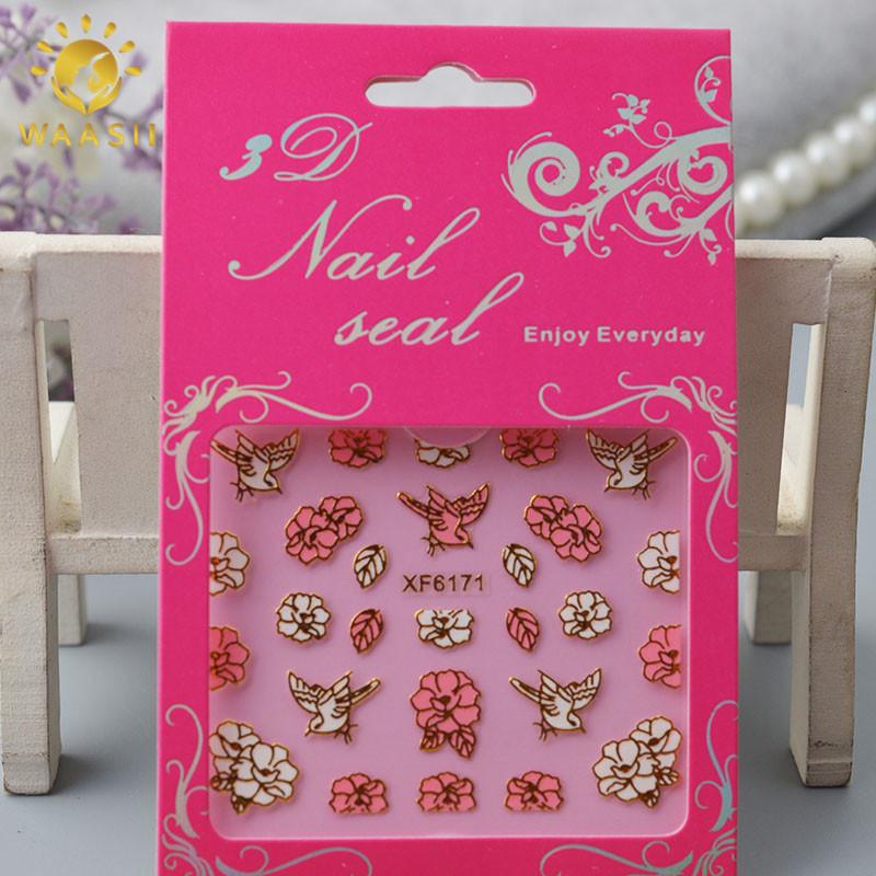 1card/lot small nail art adhesive stickers DIY nail art stickers makeup nial tools Nail companion(China (Mainland))