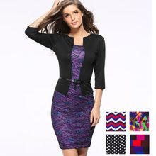 Womens Elegant Belted Tartan Plaid Patchwork Graffiti Wave Polka Dot Print Wear to Work Business Bodycon Pencil Office Dress