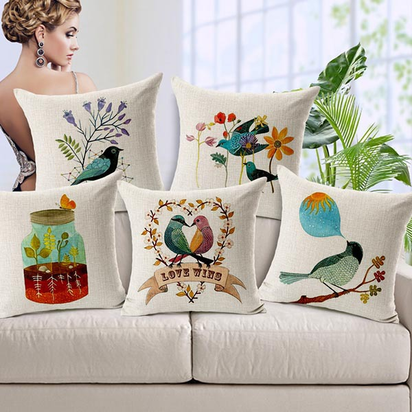 "Bird Flower Pillow Cases Cotton Linen Cushion Cover Throw Pillowcase 18"" Square Car Sofa Bedding Decor Free Shipping(China (Mainland))"