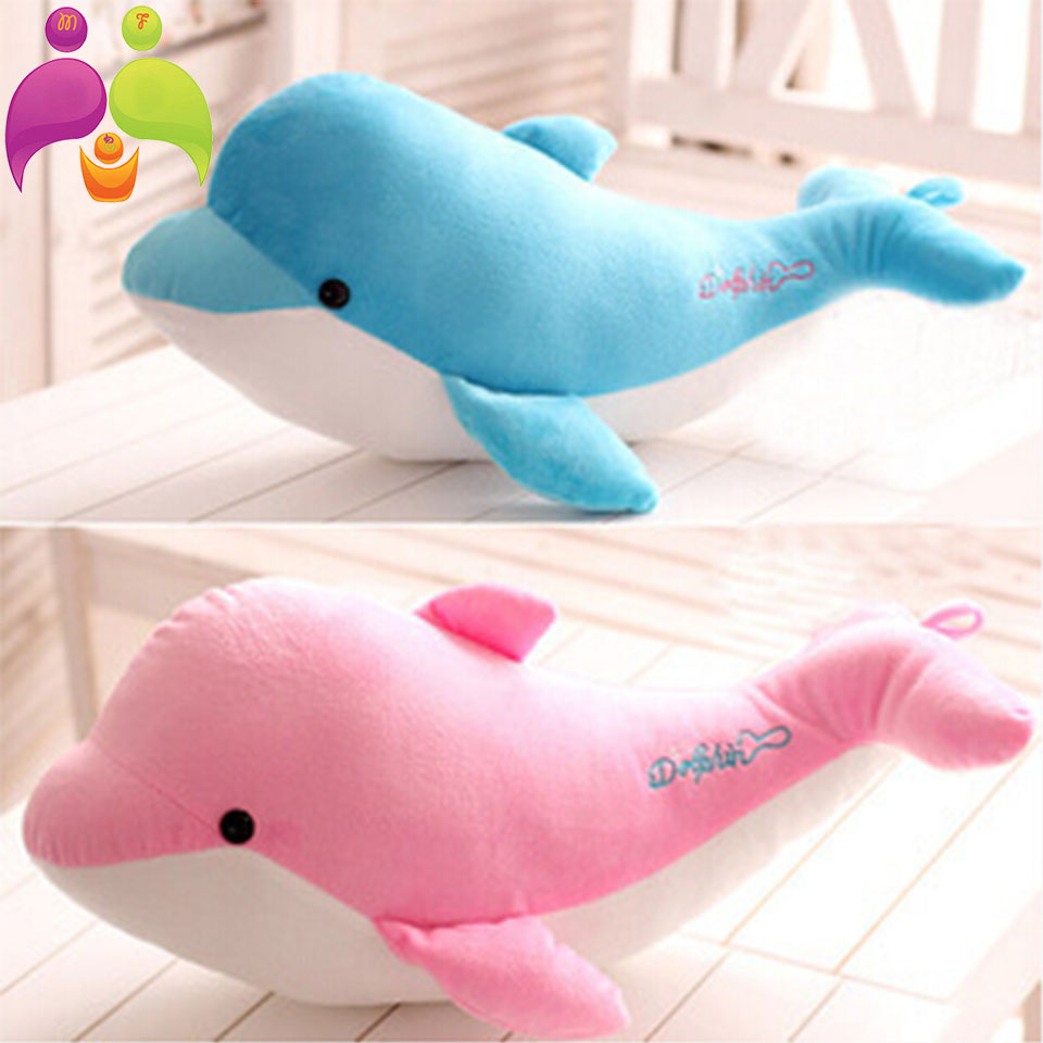 2015 New 28cm High-quality goods dolphins pillow doll plush toys dolphins doll present lovers toys for childrens Free shipping(China (Mainland))