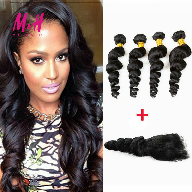 Brazilian Loose Wave With Closure Rosa Hair Products With Closure 6A Unprocessed Virgin Brazilian Hair Bundles With Lace Closure