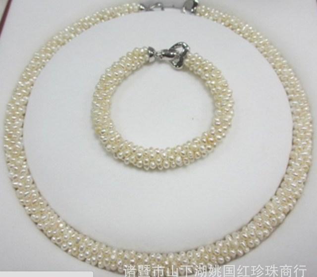 Fashion Real Freshwater Pearl Jewelry Set Bridal