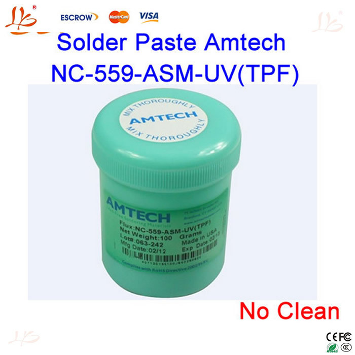 Free Shipping! Lead Free No Clean Solder Paste Flux Original Amtech NC-559-ASM-UV(TPF) 100g(China (Mainland))