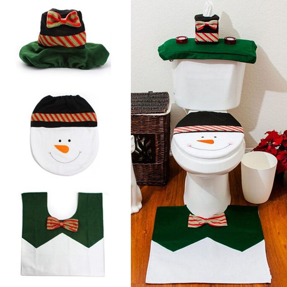 snowman toilet seat cover rug bathroom set holiday decorations free