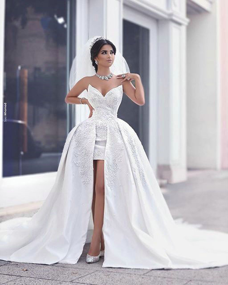 Sexy short beach wedding dresses with detachable train for Lace beach wedding dresses