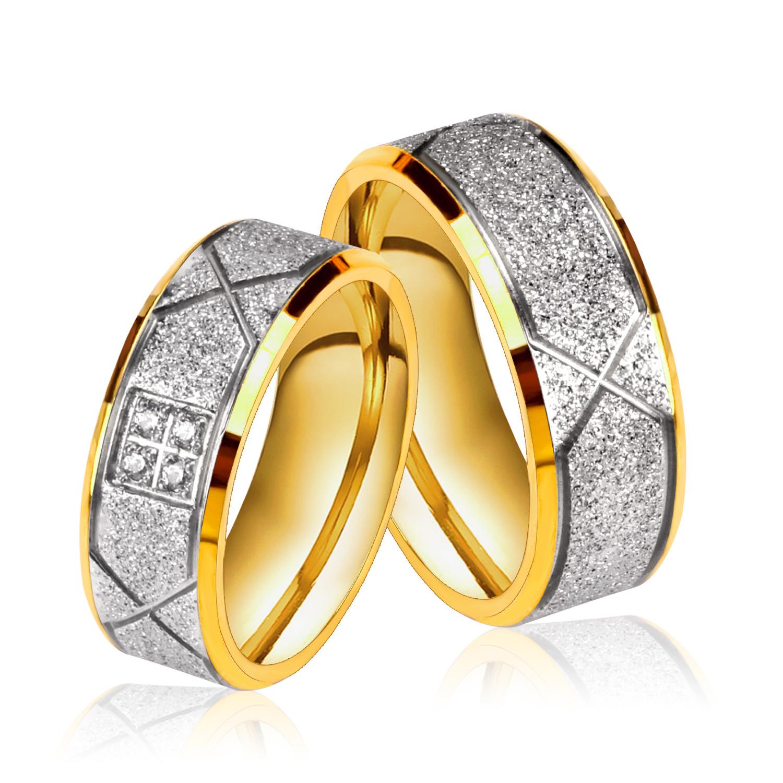 2016 Fashion wedding rings pair couple white gold rings ...
