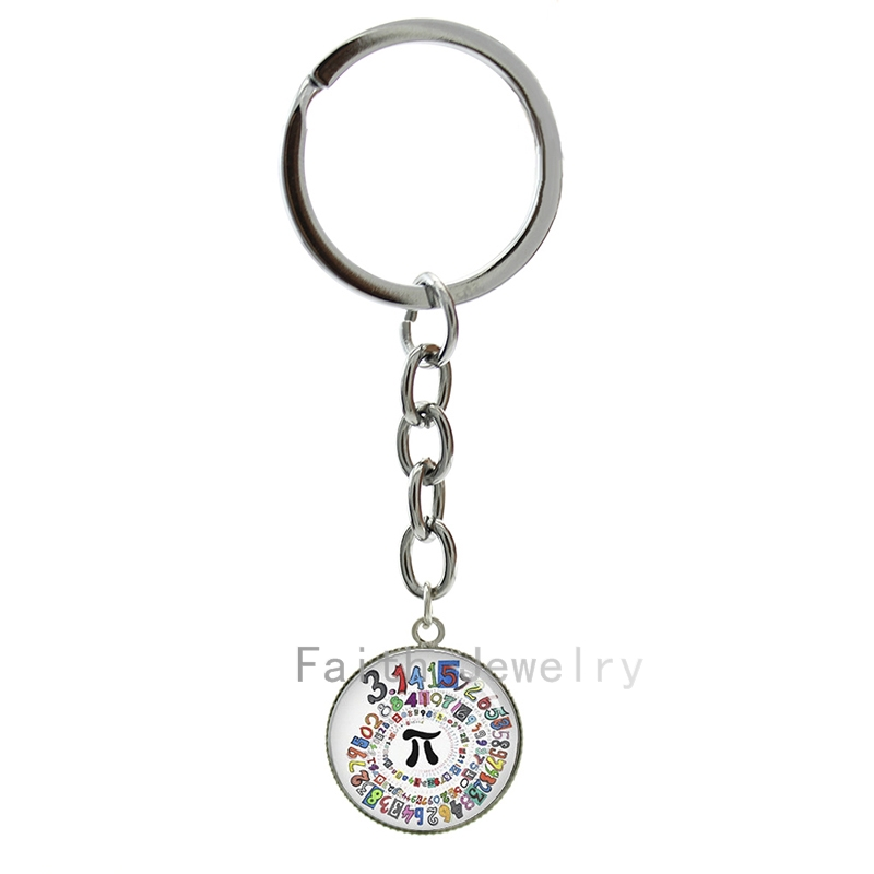 Pion Spiral Round image key chains charm colored repeating decimals spiral round Pion art picture keychain math symbol Pi 1269(China (Mainland))