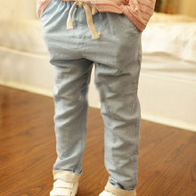 2015 New Children Linen Candy Color Pants Big Boys Girls Summer Cotton Breathable Hemp Trousers Kids