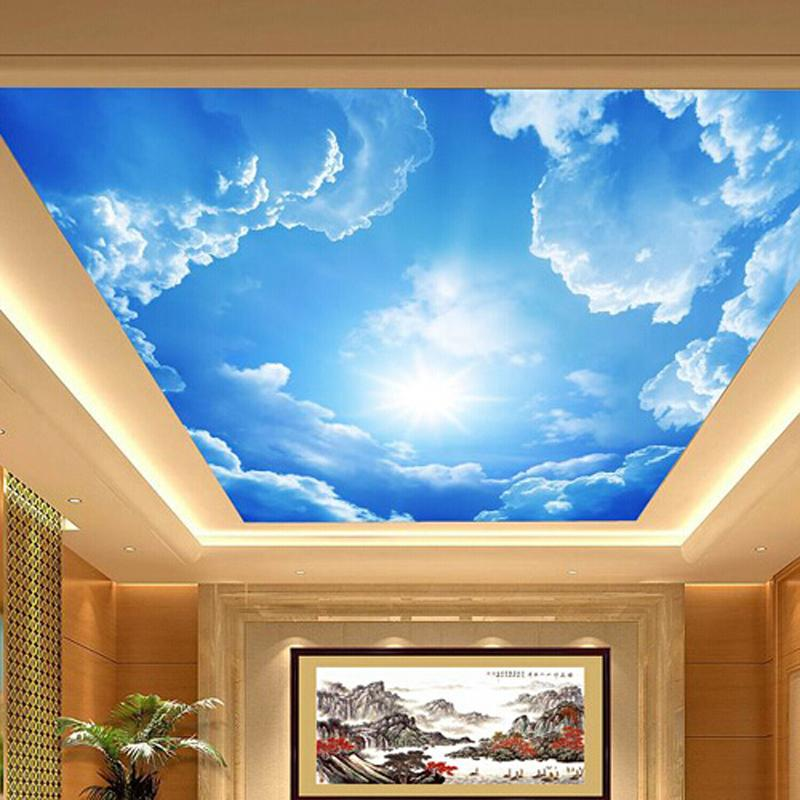 Buy 3d large hotel lobby ceiling mural for Ceiling mural wallpaper