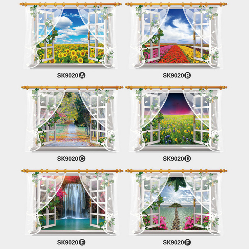6 styles 3Dcreatively window wall stickers Sunflower waterfall landscape livingroom wedding Mural Decorations Home Decal Poster(China (Mainland))