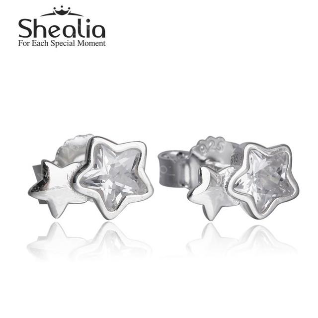 2015 зима новый твин звезда серьги для женщин аутентичные 925-Sterling-Silver с австрией кристалл ювелирных украшений