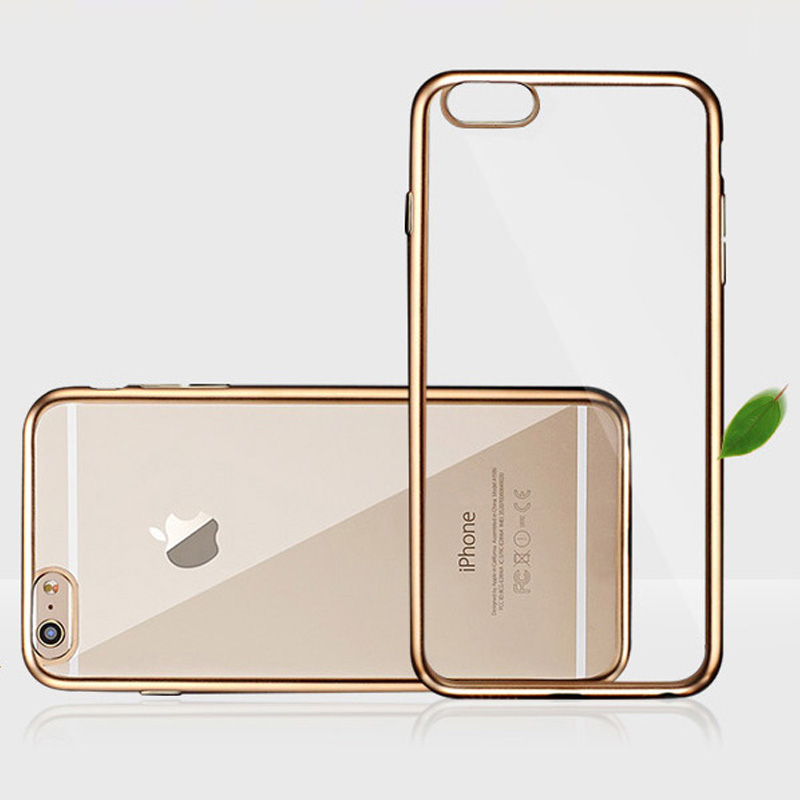 Rose Gold Soft TPU Silicon Plating Bumper For Apple iPhone 6 6S 4.7 inch Ultra Thin Crystal Clear Back Cover Cases(China (Mainland))