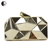New Fashion Women Handbags Metal Rhombus Shinning Metal Shoulder Bags Ladies Gold Silver Day Clutch Evening Bags BH483(China (Mainland))