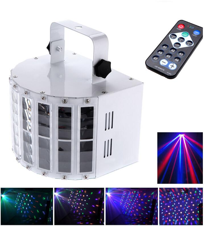 Фотография 6 Channel RGBW Dmx512 LED Mini Butterfly Stage Light Effect Voice-activated Automatic Control LED Flash Laser Light DHL Free