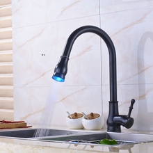 Buy Traditional Oil Rubbed Bronze Pull Mixer Tap Swivel Spout Kitchen Sink Faucet LED Light for $81.42 in AliExpress store